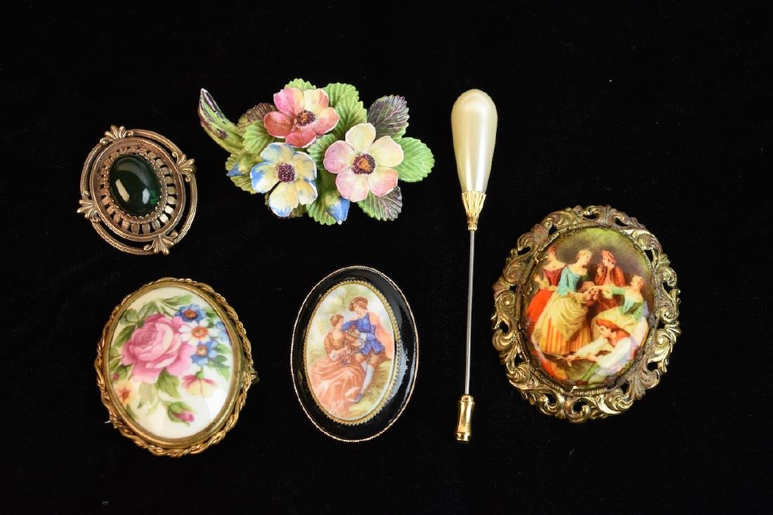 Vintage Broaches and Pins; Limoges