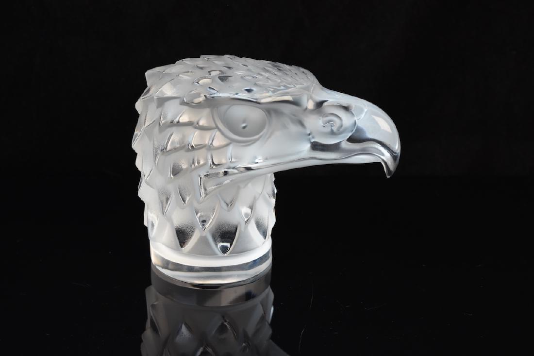 Lalique Crystal Eagle Head; signed
