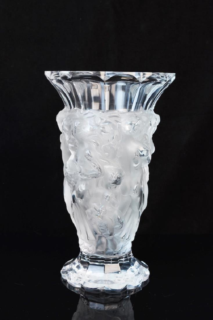 Lalique Crystal Vase; signed