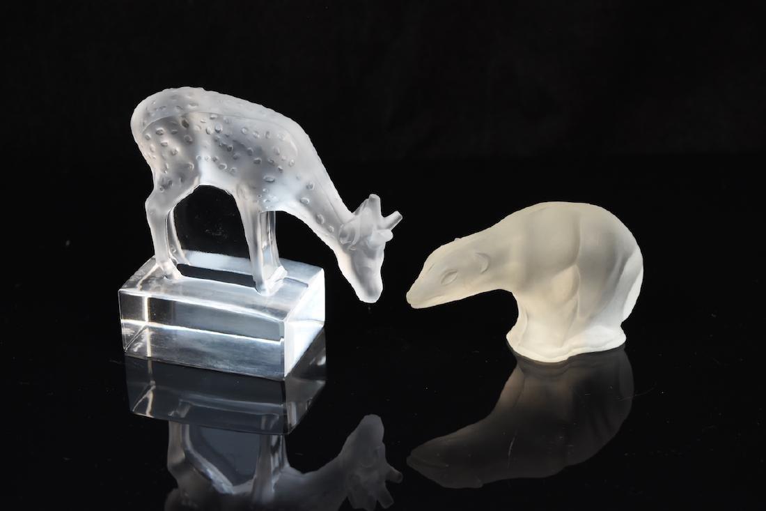 Lalique Crystal Deer & Bear Figurine; signed