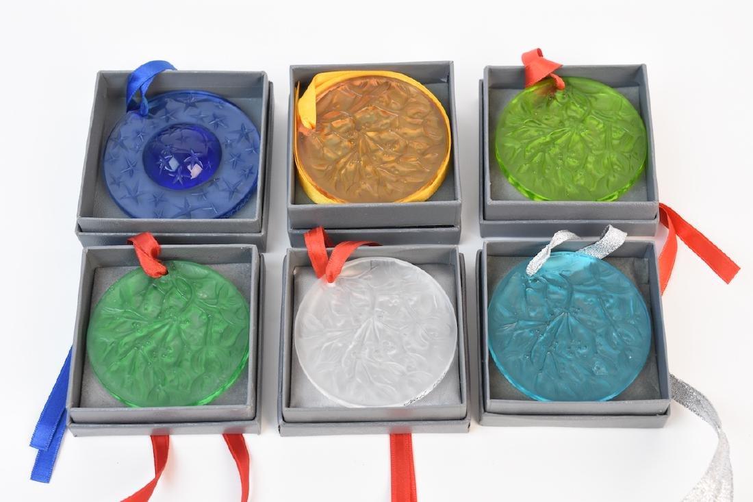 (6) Lalique Christmas Tree Ornaments OB