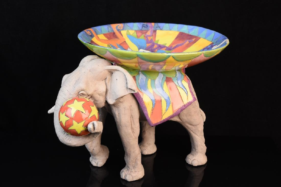 Ferguson Signed Ceramic Elephant W/ Ball Sculpture