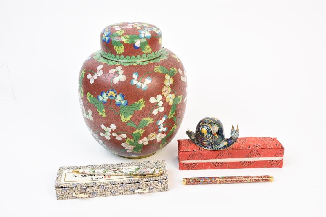 Cloisonne Jar, Pens and Decorative Snail