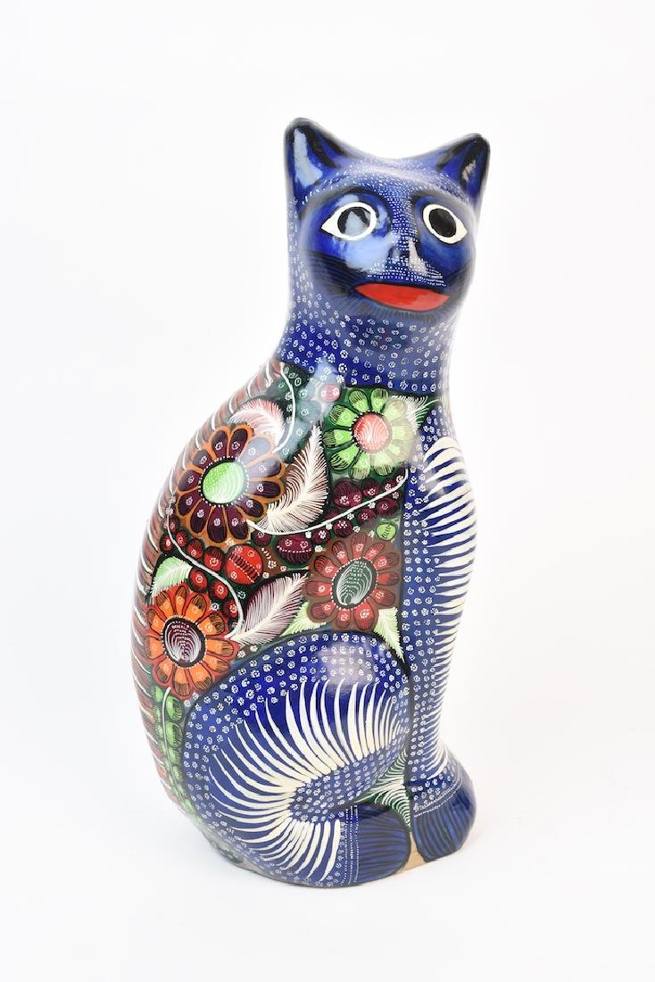 Multi-Color Whimsical Seated Cat Hollow Sculpture
