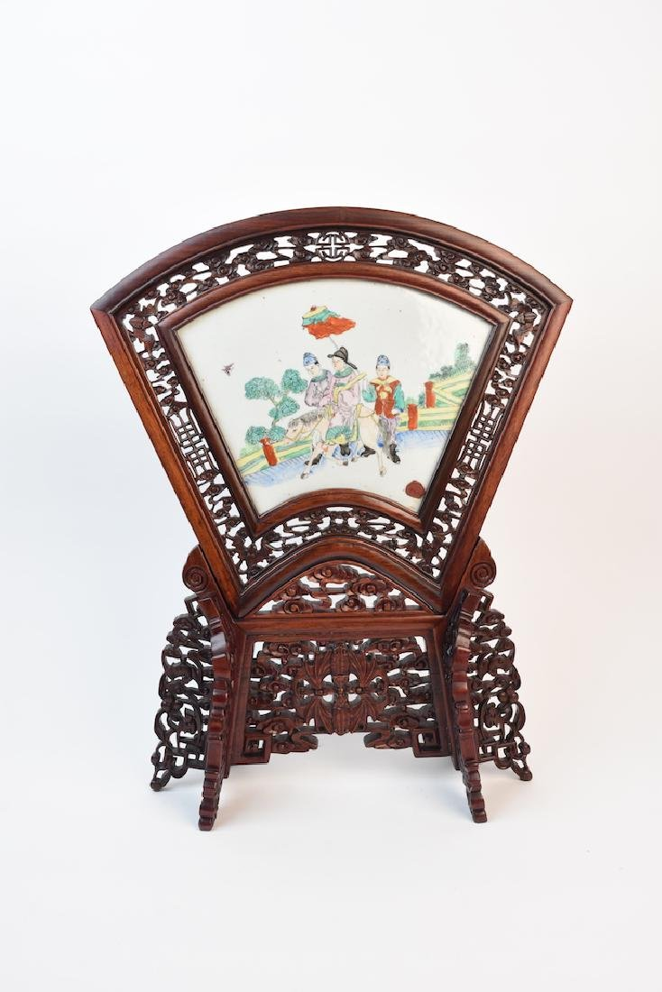 Hand Painted Chinese Porcelain Fireplace Screen