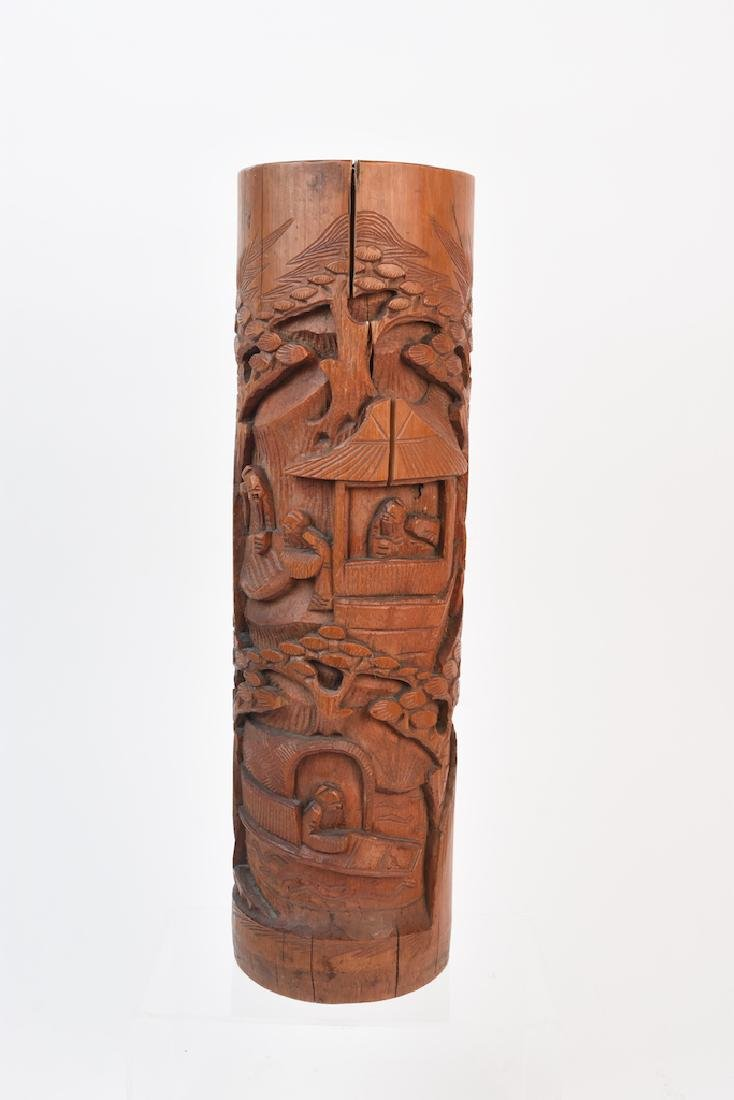 Wood Hand Carved Asian Cylindrical Vase
