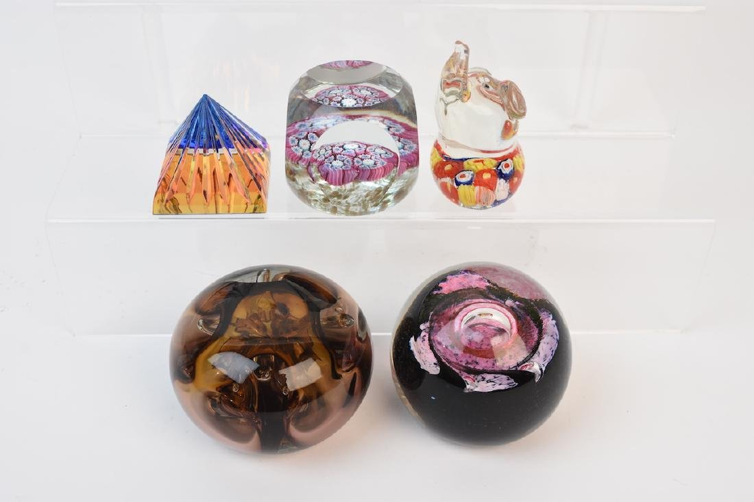 (5) Paperweights; Caithness, Millefiori, Elephant+