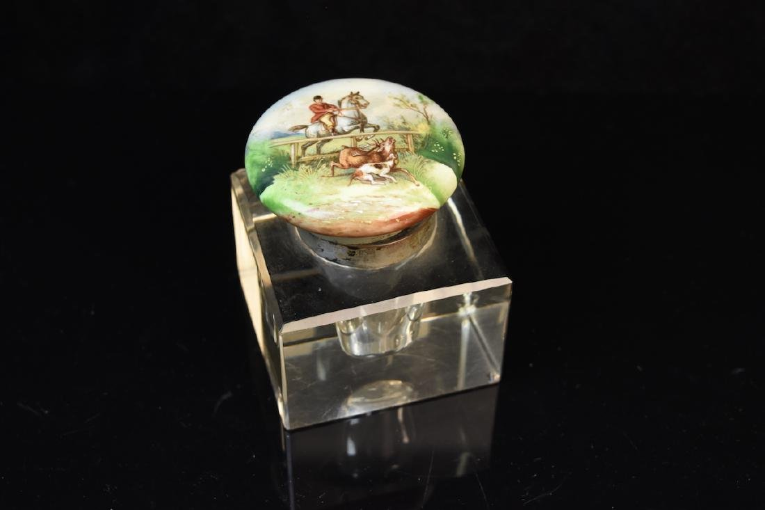 Antique Equestrian Inkwell