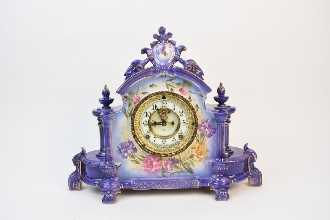 Ansonia Royal Bonn Porcelain Mantel Clock