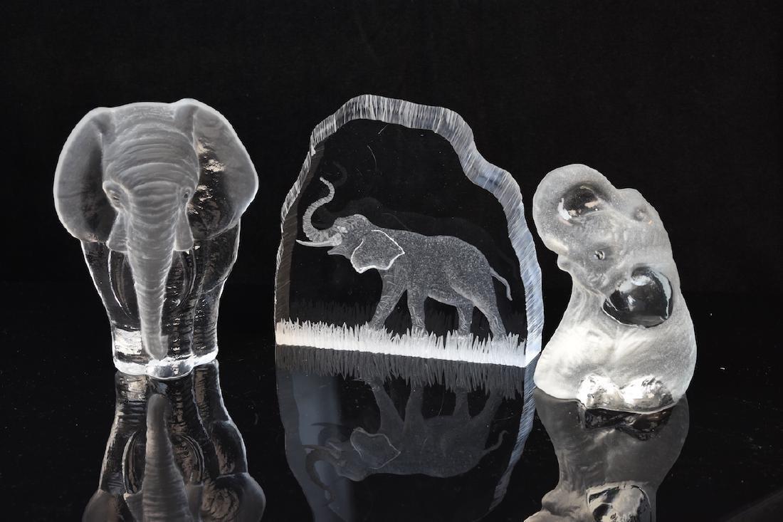 (3) Elephant Figurals, Galvan & Jonasson Signed Pieces