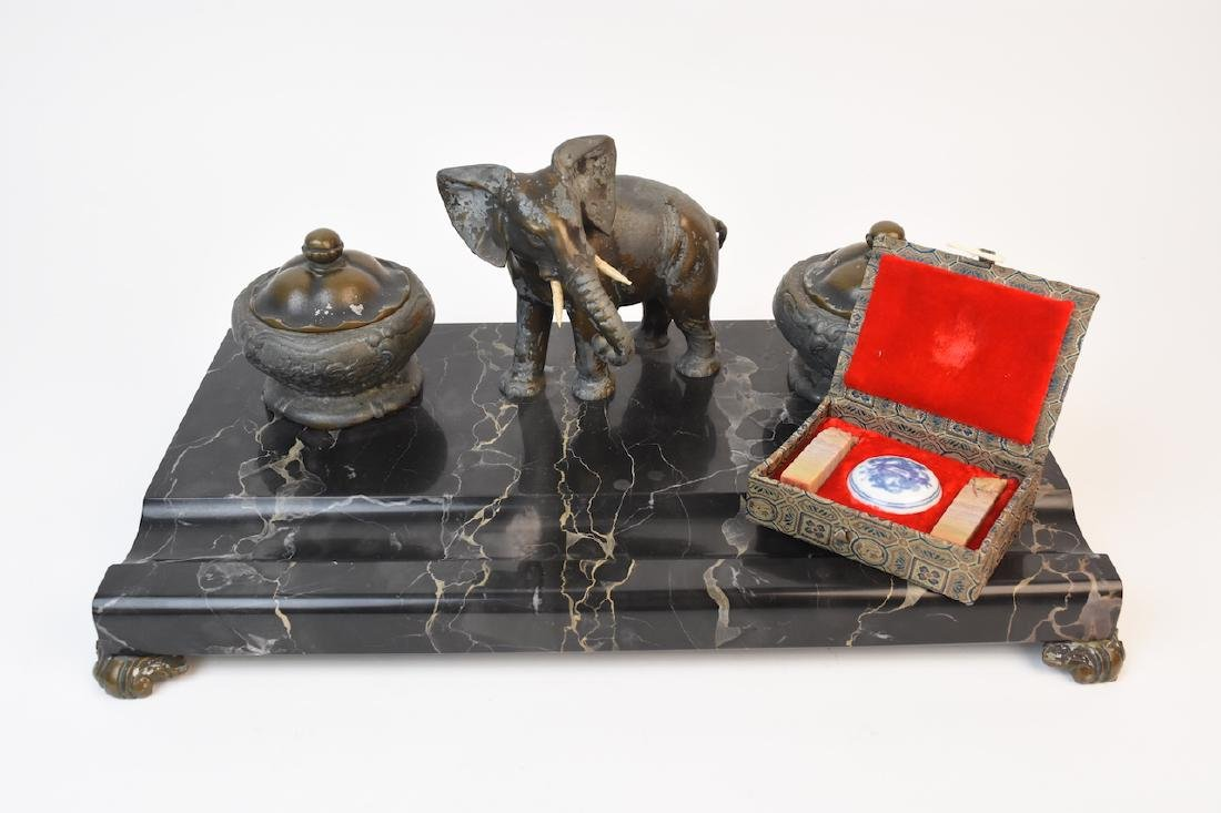 Marble Dual Inkwell w/ Mounted Elephant Figural