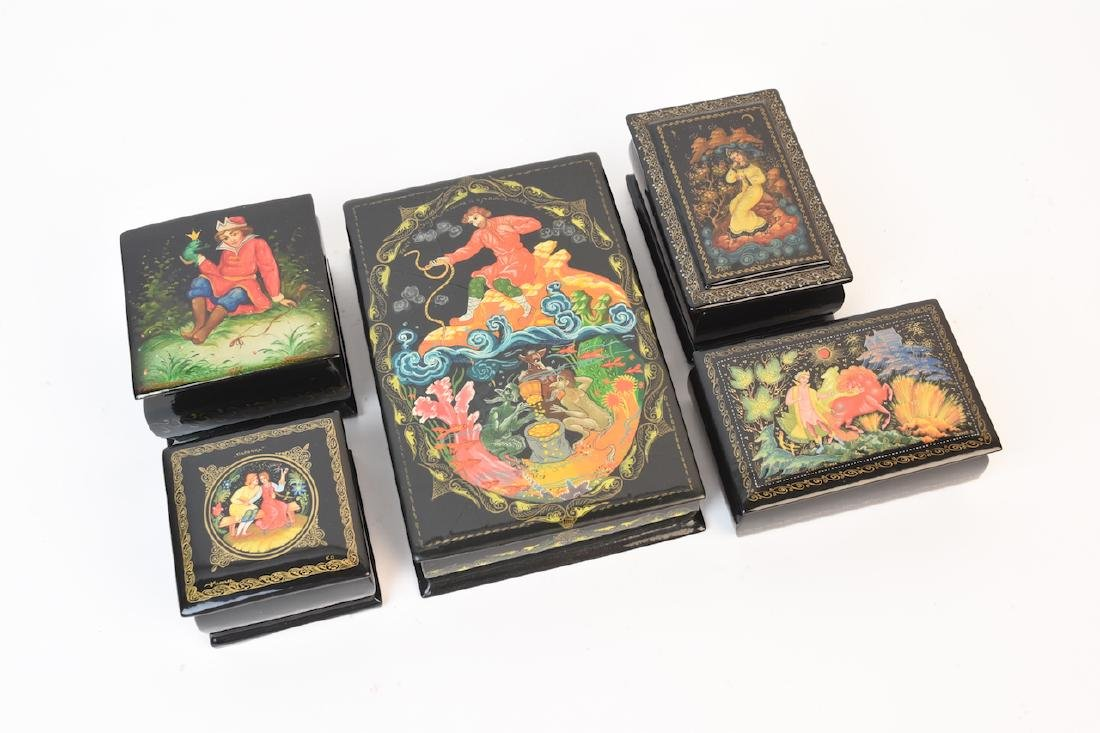 (5) Russian Folklore Signed Lacquer Table Boxes