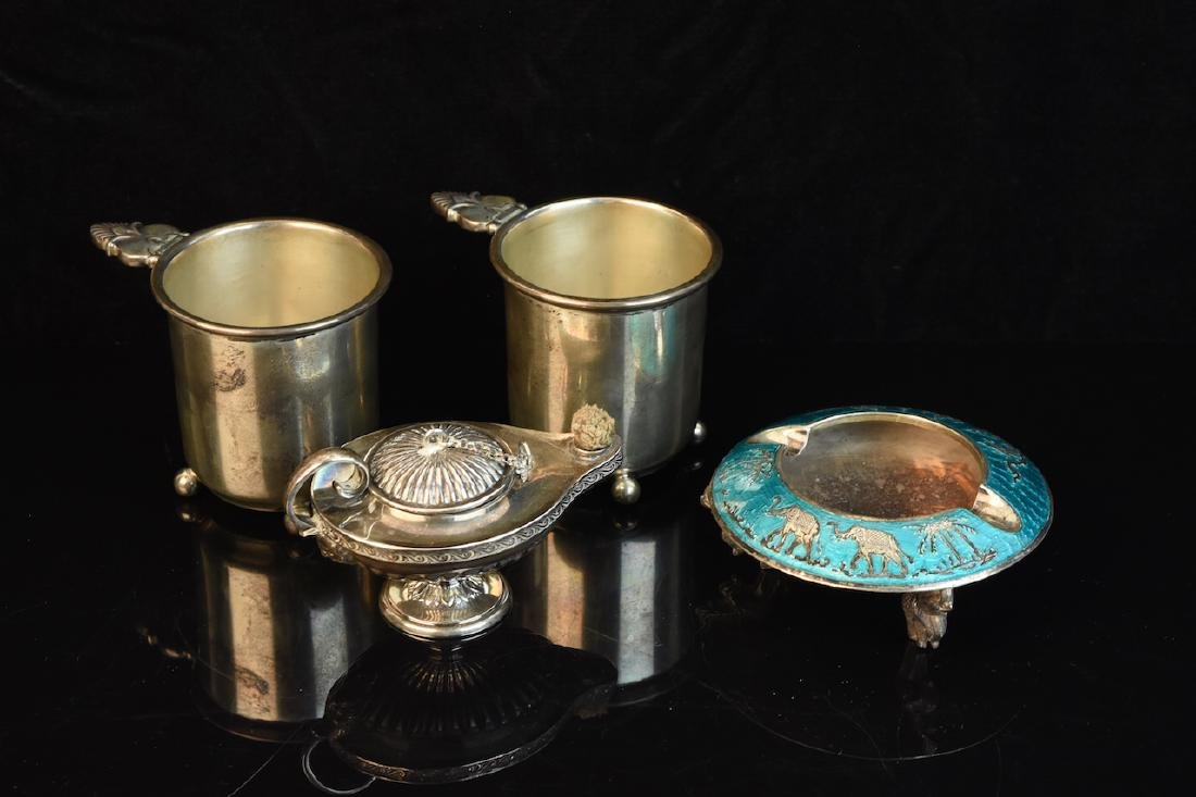 Sterling Cups, Ashtray & Genie Oil Lamp
