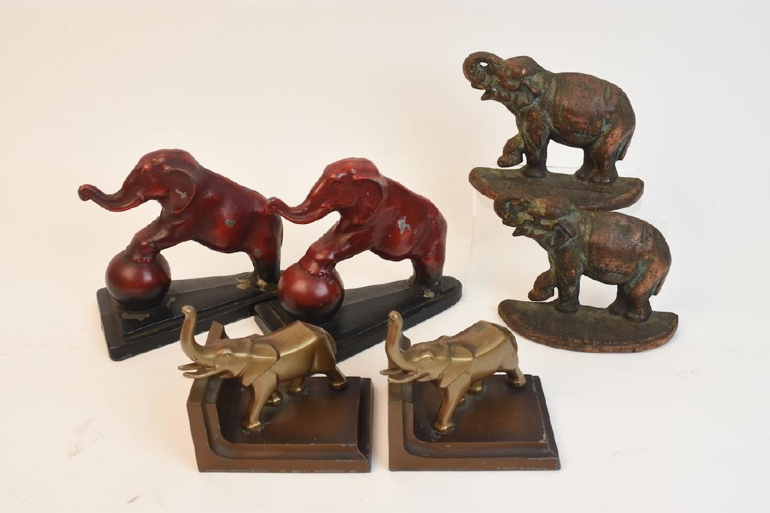 (3) Sets of Elephant Bookends- cast iron & metal