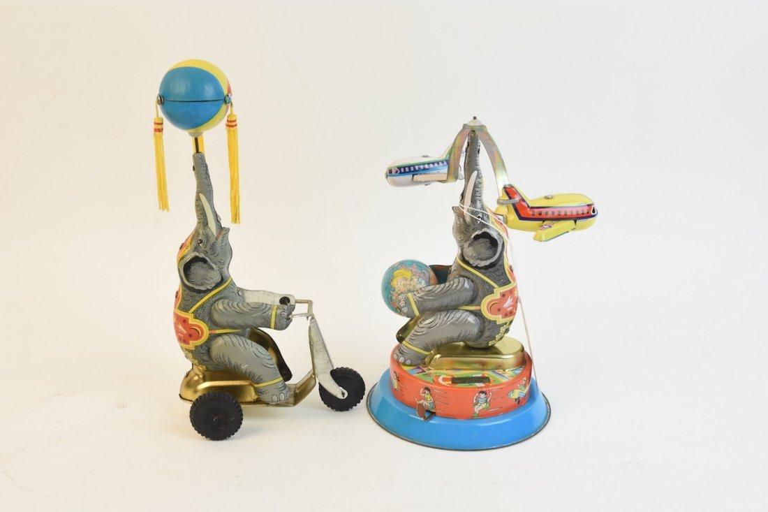 (2) Vintage Tin Litho Elephant Wind-up Toys