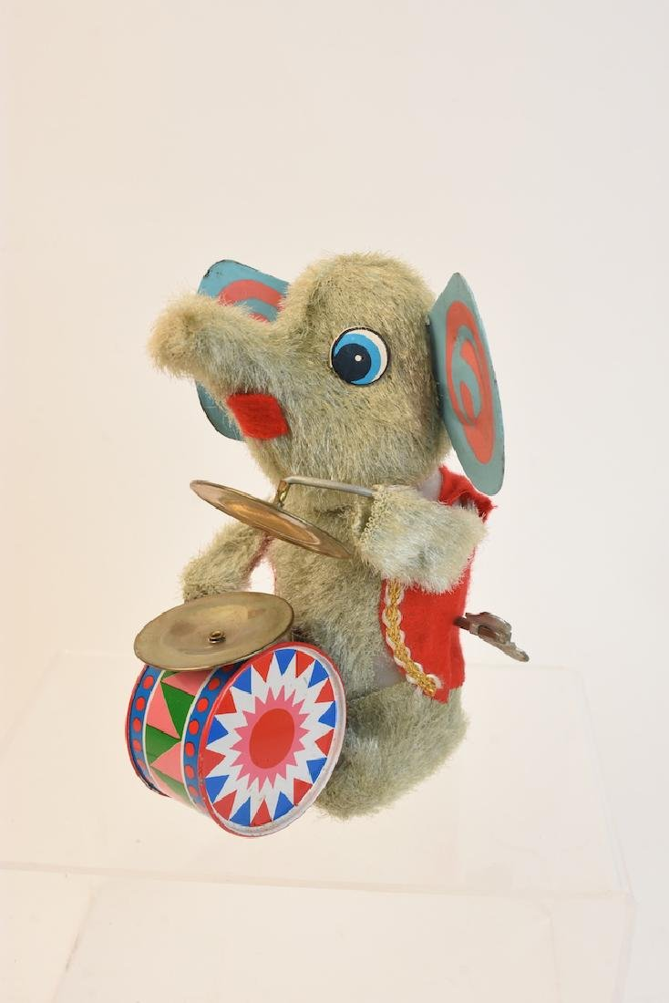 (4) Vintage Plush & Tin Mechanical Elephant Toys - 10