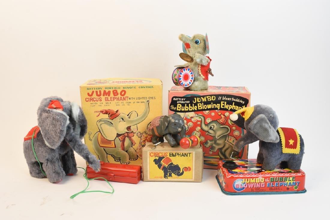 (4) Vintage Plush & Tin Mechanical Elephant Toys