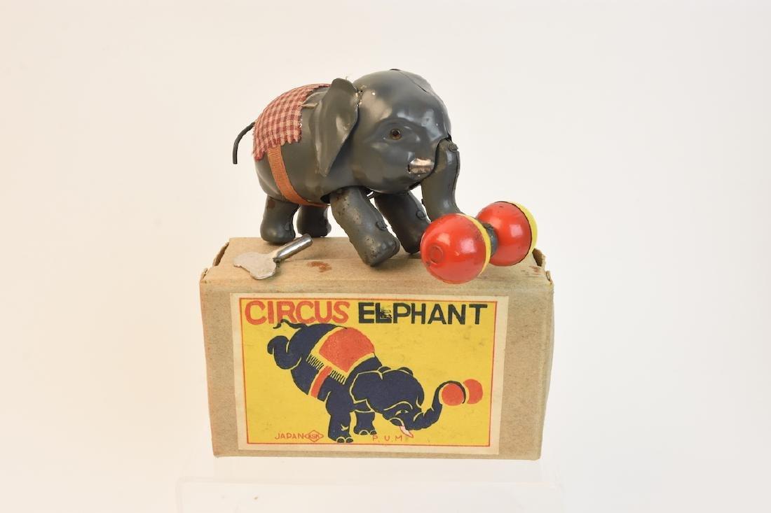 (4) Vintage Plush & Tin Mechanical Elephant Toys - 2