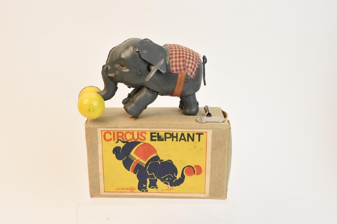 (4) Vintage Plush & Tin Mechanical Elephant Toys - 3