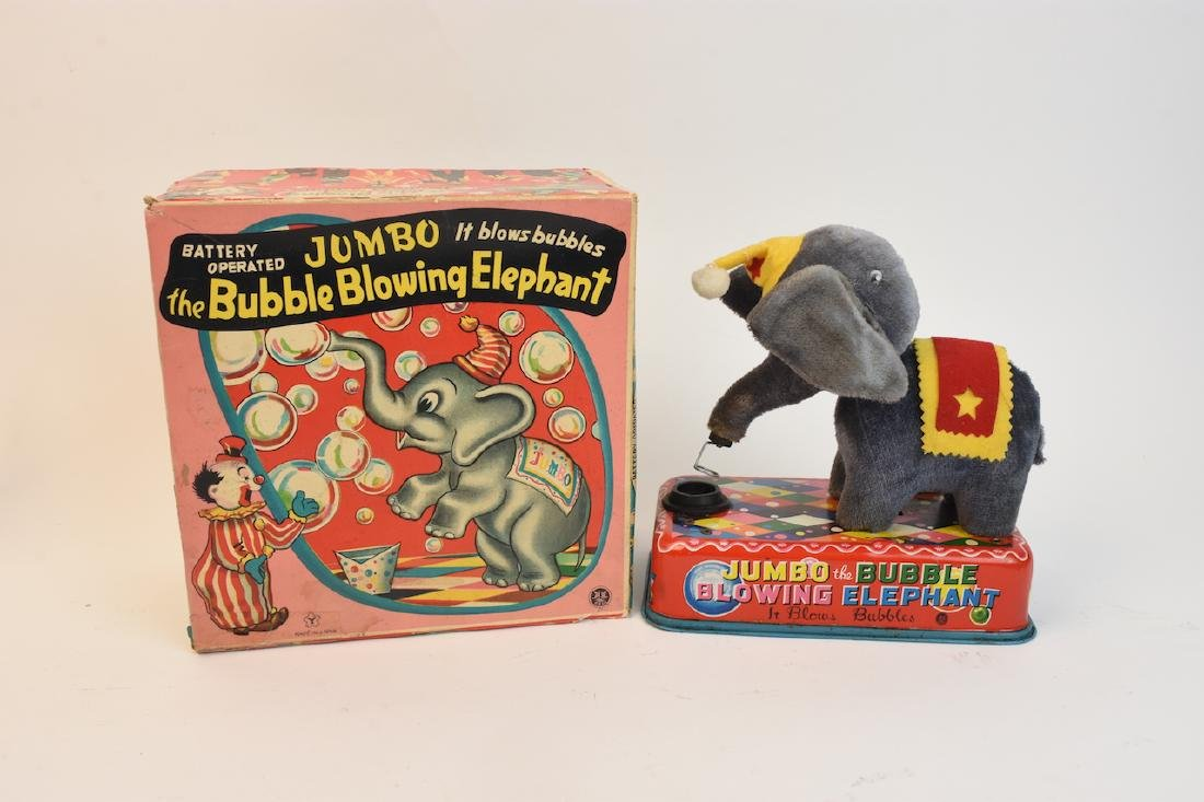 (4) Vintage Plush & Tin Mechanical Elephant Toys - 5