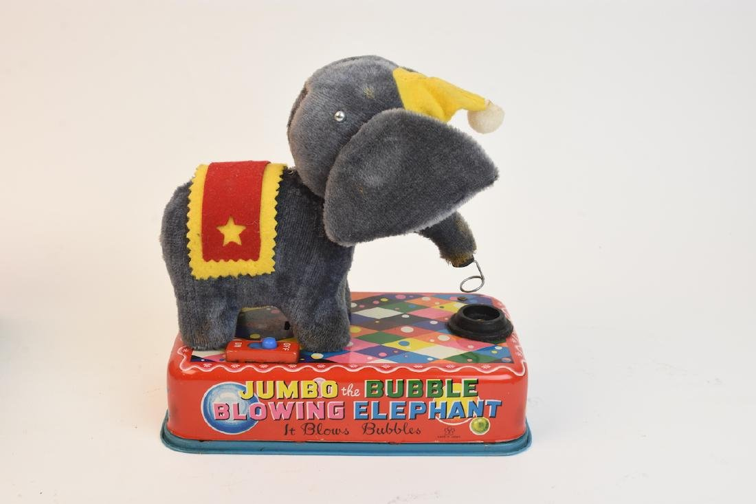 (4) Vintage Plush & Tin Mechanical Elephant Toys - 7