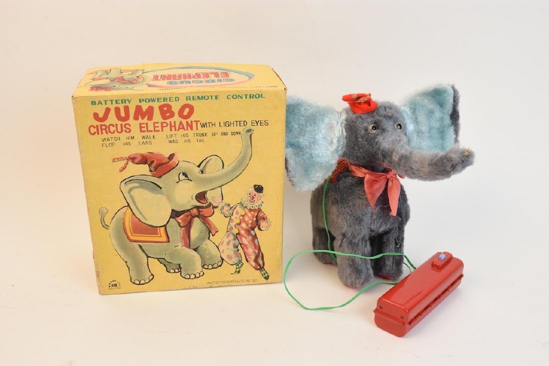 (4) Vintage Plush & Tin Mechanical Elephant Toys - 8