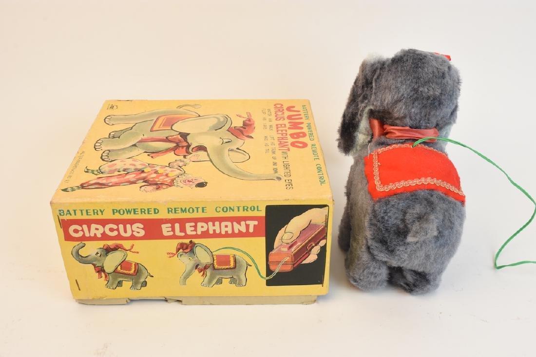 (4) Vintage Plush & Tin Mechanical Elephant Toys - 9