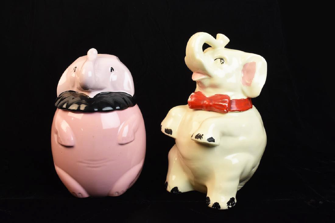 (2) Shawnee USA Elephant Cookie Jars
