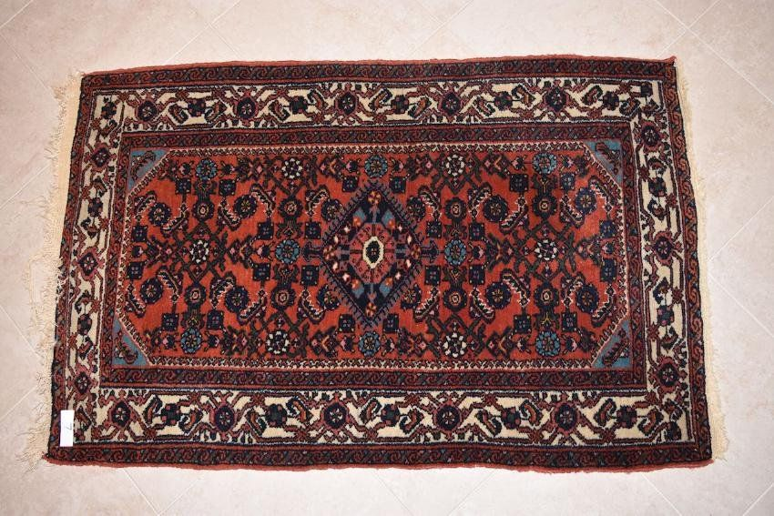 "Persian Hamadan Hand Woven Rug, 3' 11"" x 2' 7"""