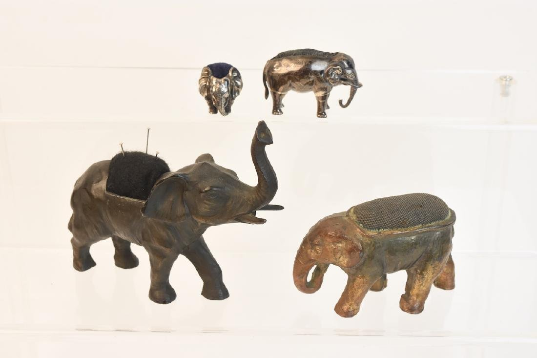 (4) Vintage Elephant Pin Cushions