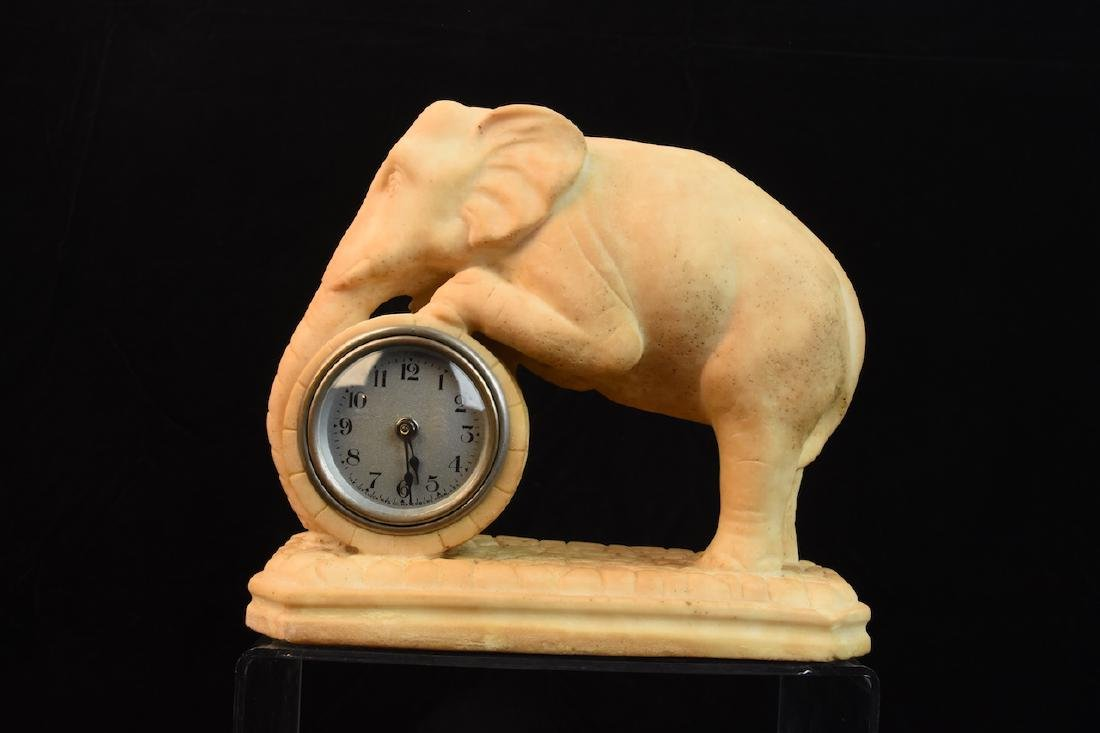 Antique Alabaster Lux Clock Mfg. Co Elephant Windup