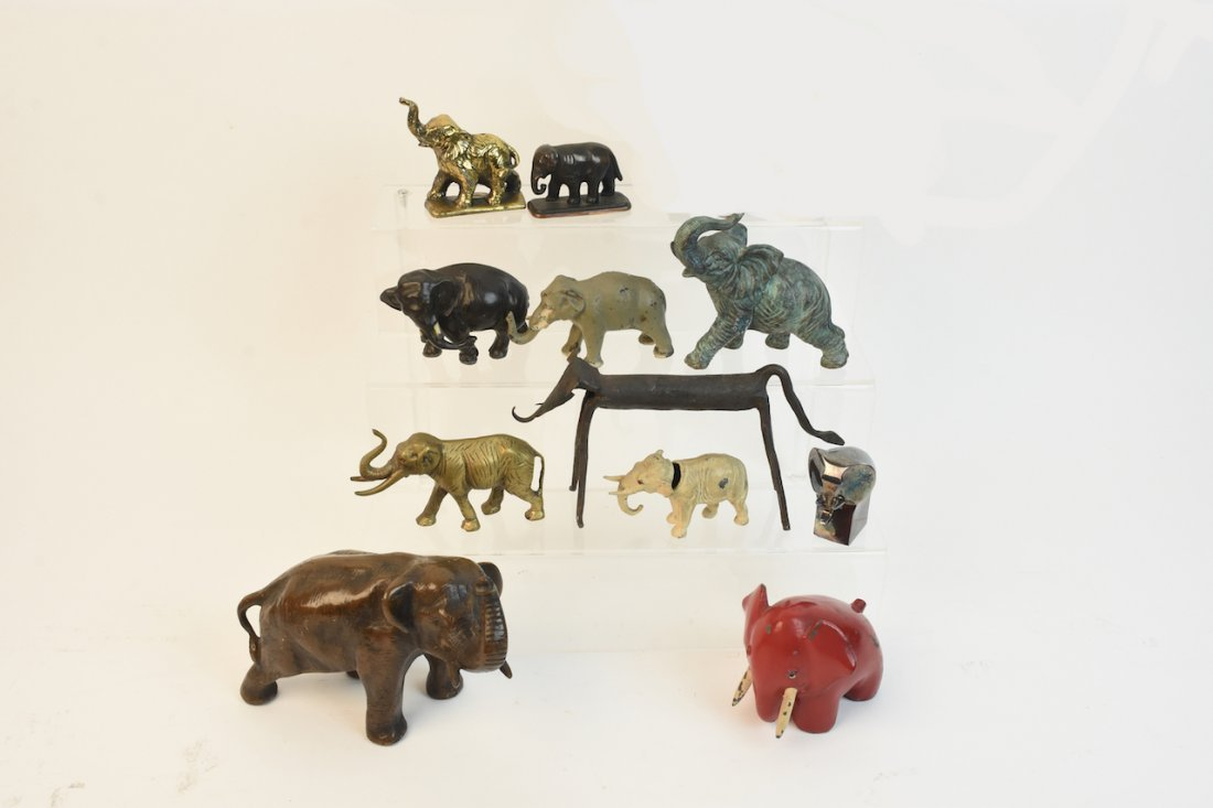 (11) Cast Iron & Metal Elephant Figurals