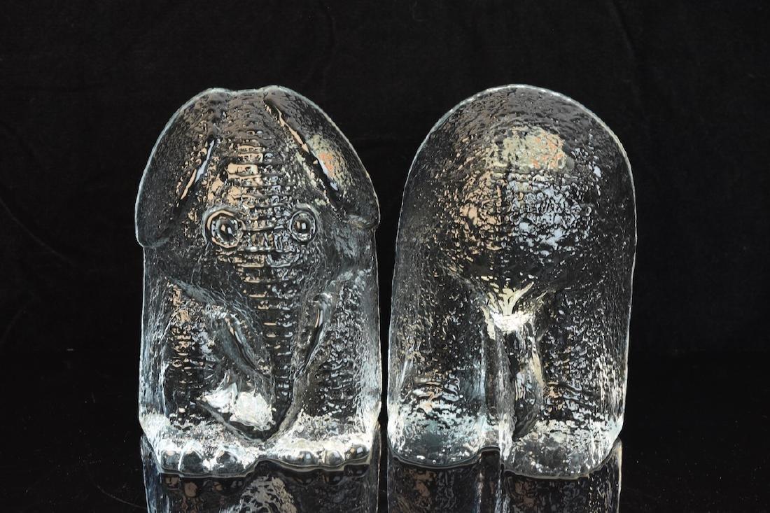 Blenko Art Glass Elephant Bookends