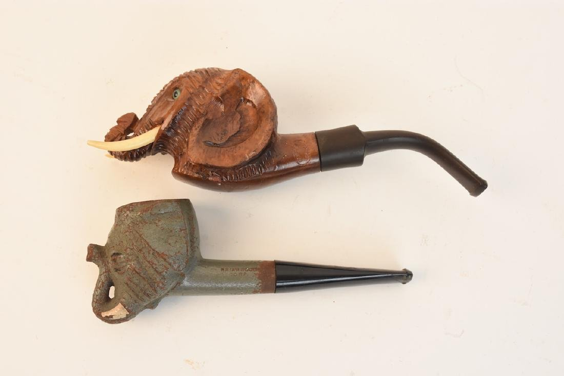 (2) Briar Wood Elephant Figural Tobacco Pipes