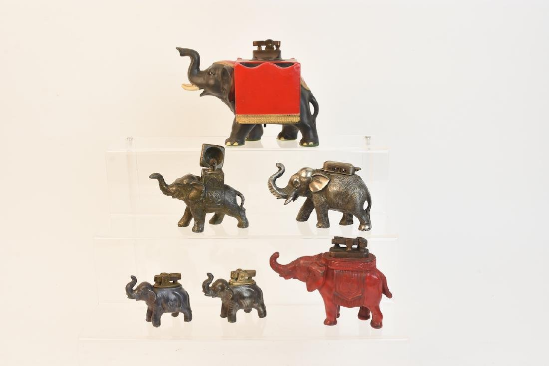 Collection of (6) Elephant Figural Table Lighters