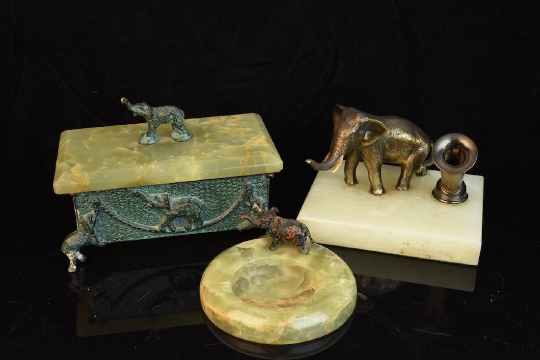 Group of 3 Hardstone Desktop Items w/ Elephant Figurals