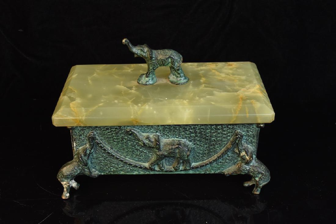 Group of 3 Hardstone Desktop Items w/ Elephant Figurals - 2