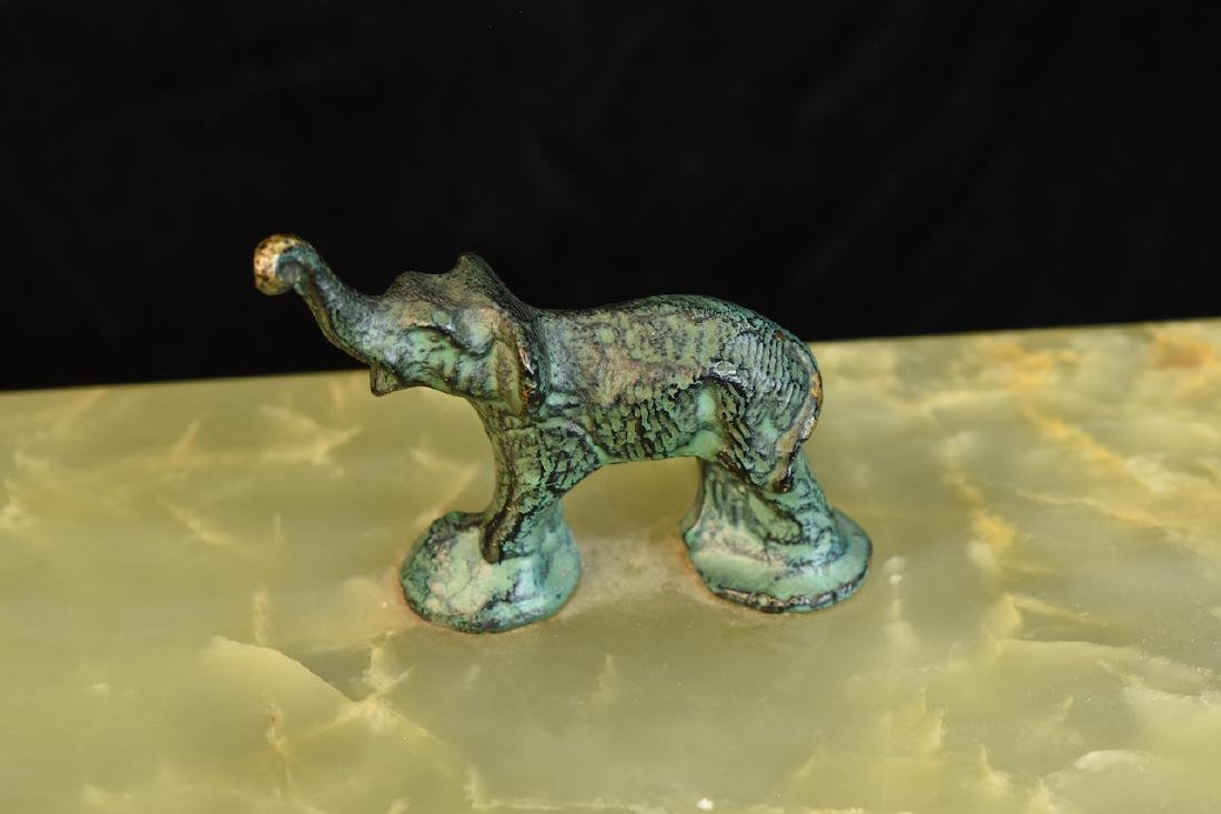 Group of 3 Hardstone Desktop Items w/ Elephant Figurals - 3