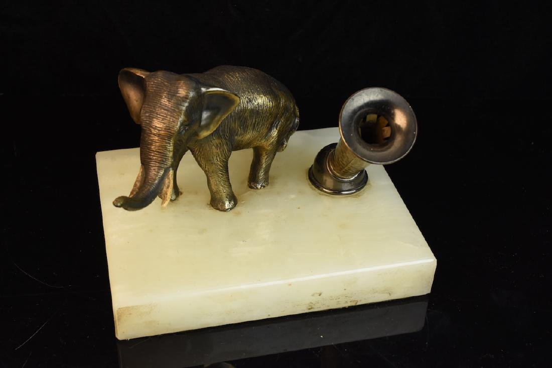 Group of 3 Hardstone Desktop Items w/ Elephant Figurals - 9