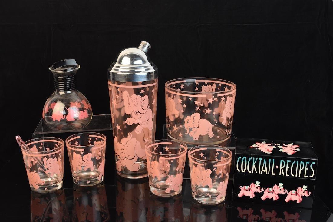 1950's Hazel Atlas Barware Set w/ Pink Elephants