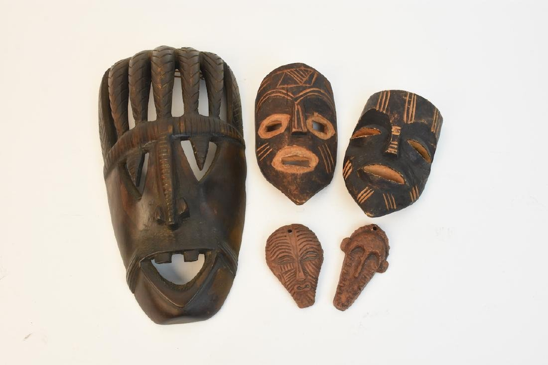African Wood Tribal Mask & Clay Medallions