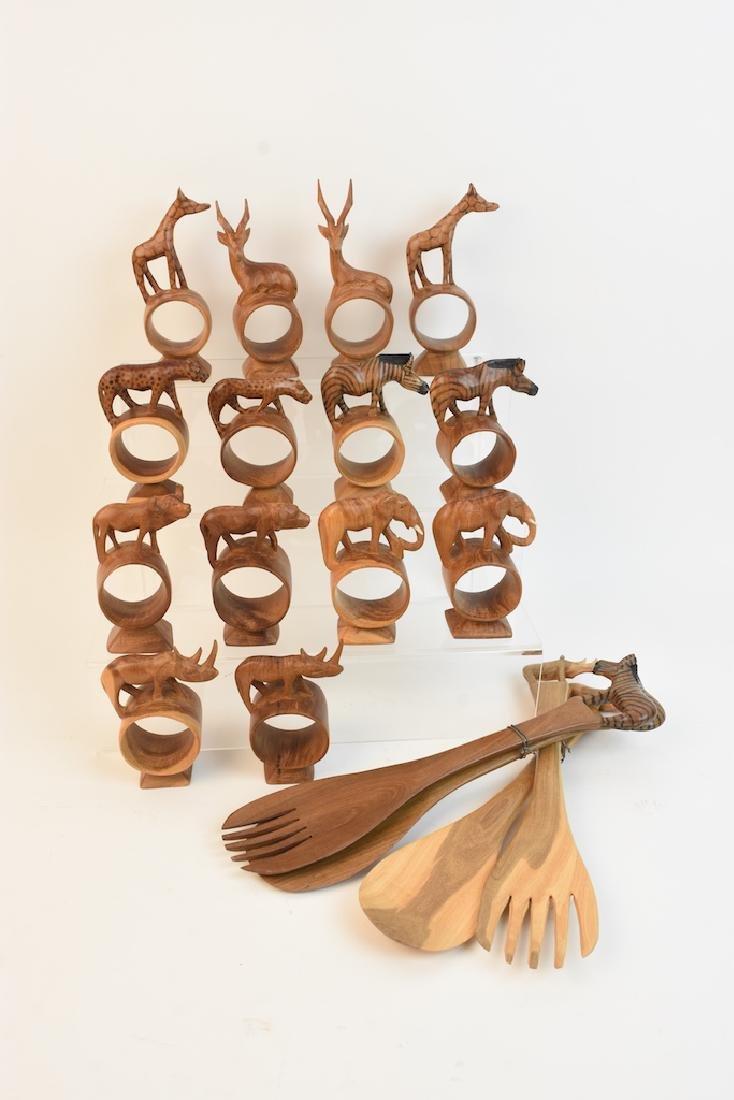 Safari Animal Wood Napkin Rings & Salad Spoons