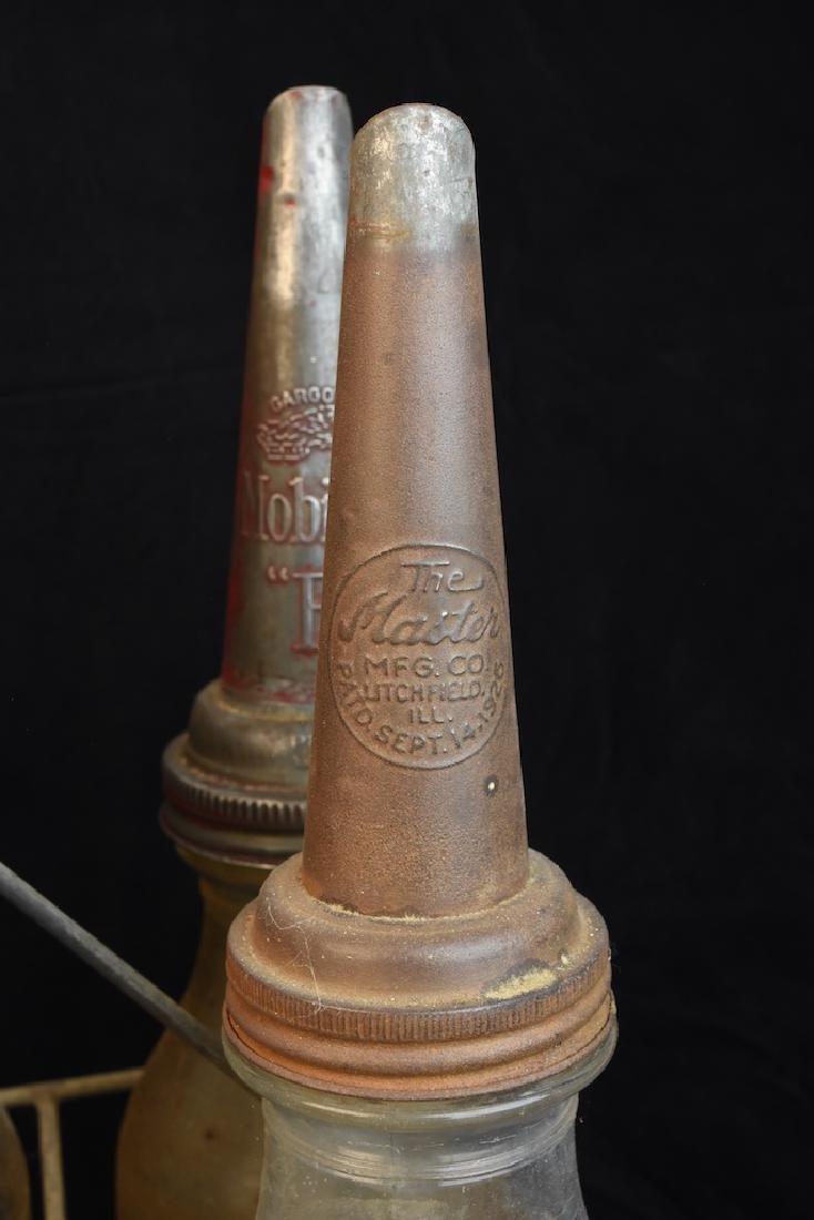 (8) Quart Oil Bottles w/ Funnel Adv. Tops & Carrier - 2