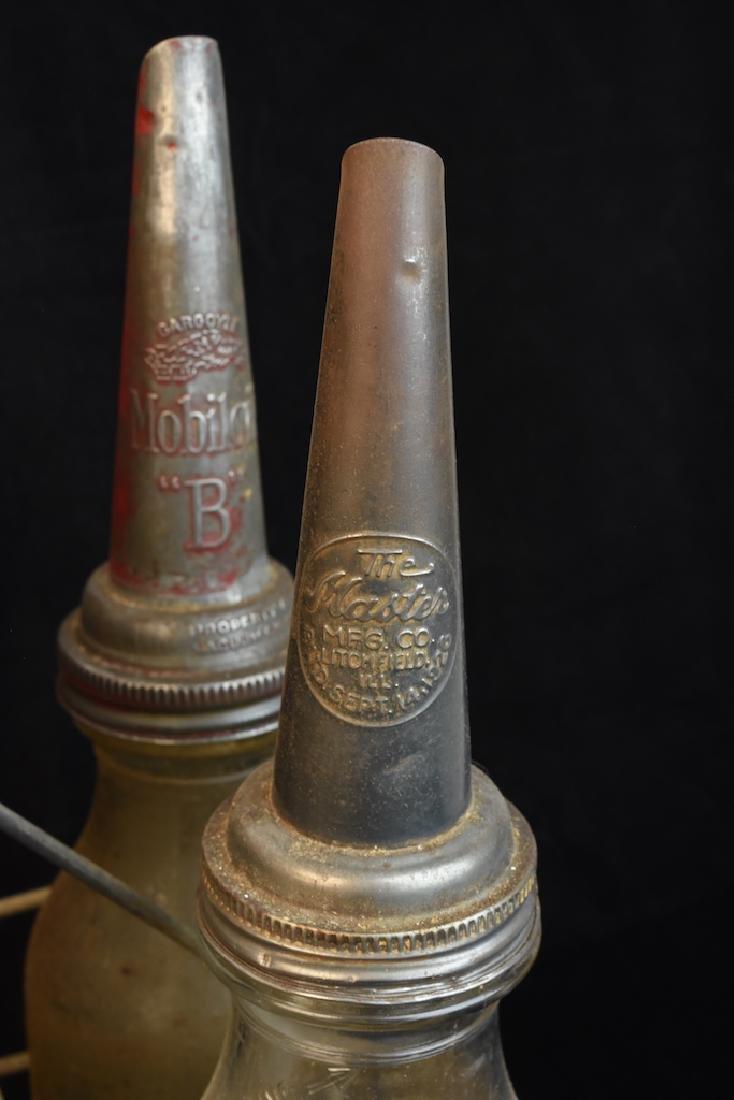 (8) Quart Oil Bottles w/ Funnel Adv. Tops & Carrier - 5