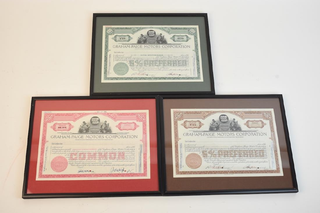 (3) 1940's Graham-Paige Stock Certificates