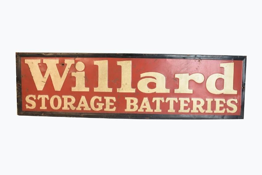 Willard Batteries Advertisement Sign, 4 1/2' x 1'
