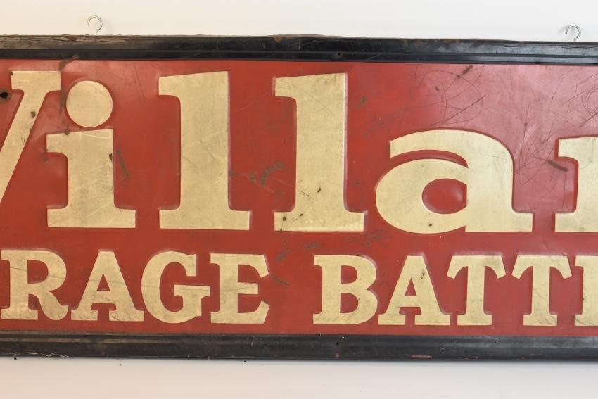 Willard Batteries Advertisement Sign, 4 1/2' x 1' - 3