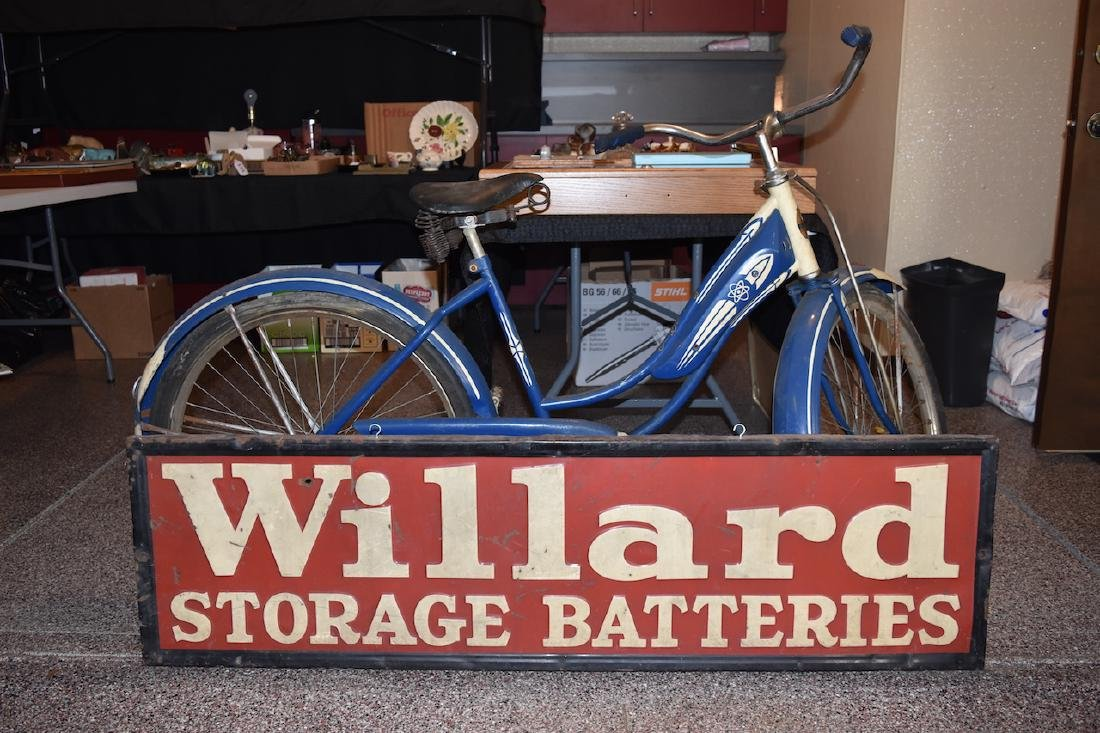 Willard Batteries Advertisement Sign, 4 1/2' x 1' - 5