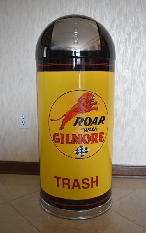 Restored Gilmore Gasoline Trash Can, Mobil Oil Corp.
