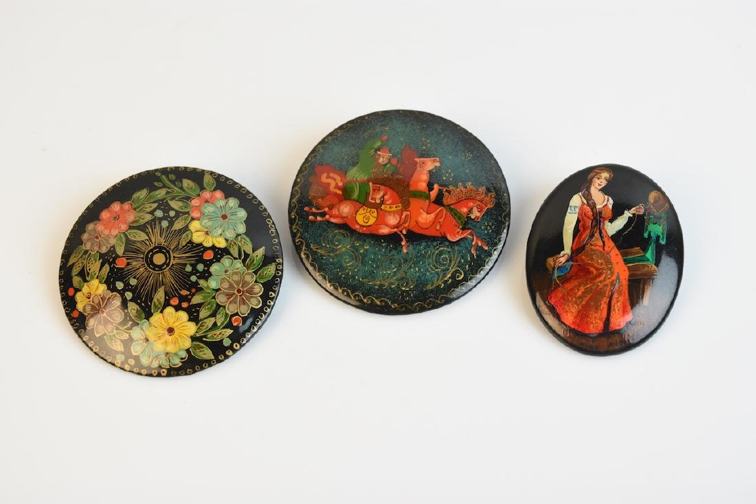 Russian Lacquered Brooches; signed